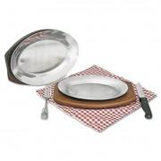 Steak Platter, Cast Aluminum, 10 1/2 Inch X 7 Inch
