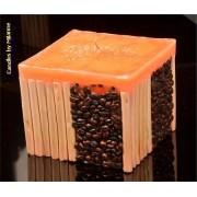 kaarsen: Koffie bamboe kaars ORANJE