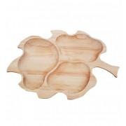 Tava din lemn de fag in forma de frunza mare 52 x 38 cm Culoare Natur