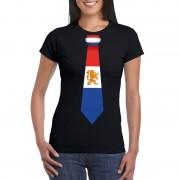 Bellatio Decorations Shirt met Nederland stropdas zwart dames XS - Feestshirts