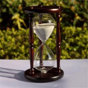 60 Minutes Wood White Sand Glass Hourglass Timer Clock Home Office Decor Gift