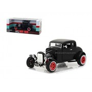 NEW DIECAST TOYS CAR GREENLIGHT 1:18 1932 CUSTOM FORD HOT ROD (MATTE BLACK WITH RED 5-SPOKE WHEELS & WHITEWALL TIRES) 12975