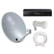 Singel Satellitpaket TELESYSTEM TS3010 HD Digitalbox (DVB-S/S2) PVR 80cm parabol