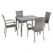Baštenska garnitura Avola sto i 4 stolice - siva