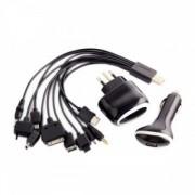 Kit USB kábel 10v1 s 230V adaptérom + 12V-24V do auta