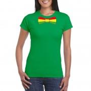 Shoppartners Groen t-shirt met Limburgse vlag strik voor dames