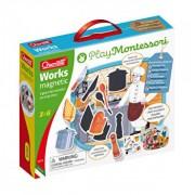 Joc educativ pentru copii Quercetti Play Montessori 0623 Works Magnetic, Tablita cu 2 fete meserii magnetice