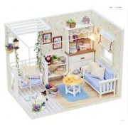 Simply Maker - Dollhouse Miniature DIY House Kit Cover LED Relaxing Sweet Living Room w Pet Cat Toy Christmas Birthday Gift (Sweet Beige)