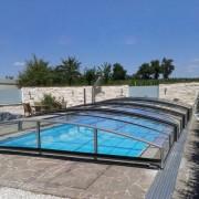 Pooltak Flat Design Klarplast Antracit 4,60 x 9,60 m 4 sektioner Vänster