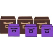 Billion Designer Non Woven 6 Pieces Small & Large Foldable Storage Organiser Cubes/Boxes (Coffee & Purple) - CTKTC35370 CTLTC035370(Coffee & Purple)