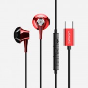 USAMS US-SJ257 EP-25 Wired Control Lateral In-ear Earphone with Mic Type-C Interface for Samsung Note 8/S8/S8 Plus - Red