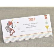 Card de masa/plic de bani botez 'Minnie bomboana' cod 7720