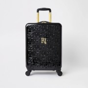 River Island Womens Black RI monogram suitcase (One Size)