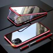 LUPHI Magnetic Installation Metal Frame + Tempered Glass Protective Shell for iPhone 11 Pro Max 6.5-inch - Red