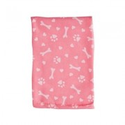 Bone Dry Printed Hearts Microfiber Dog Bath Towel, Pink