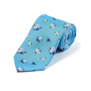 Pink/Navy Flowers on Sky - Printed Silk Tie
