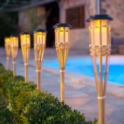 2 Torches Solaires LED en Bambou