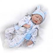 iCradle 22 Inch 55cm Handmade Sleeping Vinyl Reborn Doll Baby Girl Very Lifelike Soft Silicone Reborn Dolls Toddler Child Growth Partner Xmas Gift