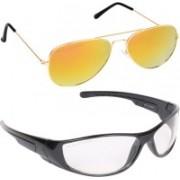 Aligatorr Retro Square, Aviator Sunglasses(Golden, Clear)
