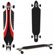 [pro.tec]® Monopatín Longboard para el cruising en la ciudad y el parque - 104x23x9,5cm - Skateboard (negro, rojo, blanco con diseno deportivo)