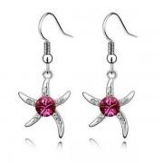 Rózsaszín kristályos tengeri csillag fülbevaló