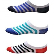 Virtue Multicolor Stripped Print Loafer Cotton Socks For Women(PACK-3)
