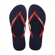 Havaianas Slim Logo Pop Up Flip Flops Navy Red Ruby Size 5-5.5