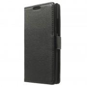 Bolsa em Pele Estilo Carteira para Nokia Lumia 735 - Preto