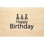 Die Laserei Holzgrusskarte - Geburtstag - Happy Birthday mit Partyhüten
