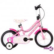 vidaXL Dječji bicikl 12 inča bijelo-ružičasti