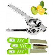 Stainless Steel Lemon Squeezer with Set of 2 Pieces Knifes and 1 Knife Peeler