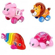4pcs/Lot Wind Up Toy Wind-Up Animal For Baby Toddler And Kids(Pig + Lion + Fish + Turtle)