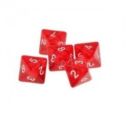 Alcoa Prime Red Multi Sided Dice Set of 5 D8 Dungeons & Dragons TRPG Games Roleplay