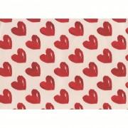 Hartie pt. ambalare, 70 x 200cm/rola, 70gr/mp, alb cu inimi rosii, HERLITZ