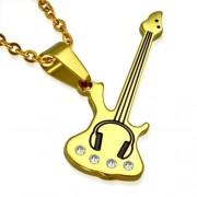 Arany színű, gitár alakú nemesacél medál ékszer, cirkónia kristállyal