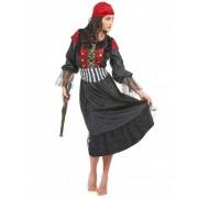 Disfarce de pirata vestido comprido para mulher