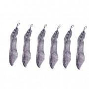 Dekoráció toll fém ezüst (6 db/szett)
