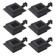 vidaXL Градински соларни лампи, 6 бр, LED, квадратни, 12 см, черни