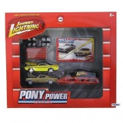 Johnny Lightning Pony Power Garage 1/64 Scale Set W/ 2 Diecast Cars (1965 Ford Mustang 2x2 Fastback & 1970 Dodge Challenger R/T)