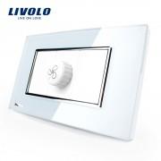 Intrerupator cu variator pentru ventilator Livolo cu rama din sticla - standard italian, alb