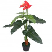 vidaXL Изкуствено растение антуриум със саксия, 90 см, червено и жълто