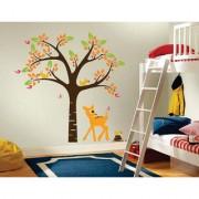 EJA Art elegant orange deer and tree Wall Sticker (Material - PVC) (Pec - 1) With Free Set of 12 pec butterflies sticker