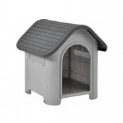 [en.casa]® Caseta para perros de plástico - gris / negro - PVC - 75 x 59 x 66 cm