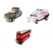 3 Combo Vehicle Toys of Ambassador Taxi, Double Decker Bus and Police Car Toy for kids   Pull back and Go   Openable Doors   Black, Red and White Color   Set of 3 Toys
