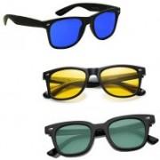 SRPM Wayfarer Sunglasses(Green, Yellow, Blue)