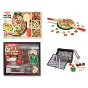 3 Item Bundle: Melissa and Doug 4024 Grill & Slice Set and 167 Pizza Party Wooden Play Food + Free Activity Book