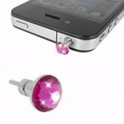 iPhone 4 iPad Hörlursuttag Smycke Kristall (Rosa)