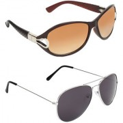 Zyaden Brown Round UV Protection Unisex Sunglasses Combo