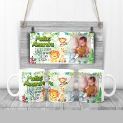 Cană personalizată cu animăluţe Safari şi datele bebeluşului de la naştere