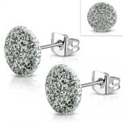 Csillogó ezüst színű, kristály mintás nemesacél fülbevaló